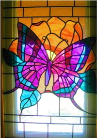 Stained glass created by Dreamland Productions, Traer, Iowa